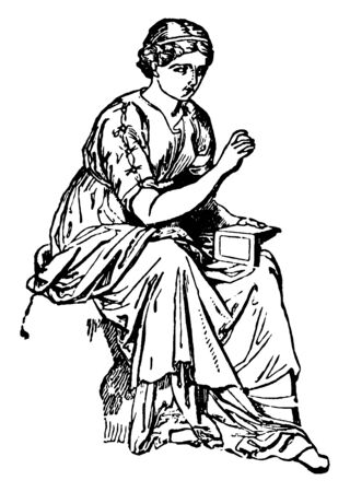 Calliope, a goddess for writers, artists and artisans, vintage line drawing or engraving illustration. 向量圖像