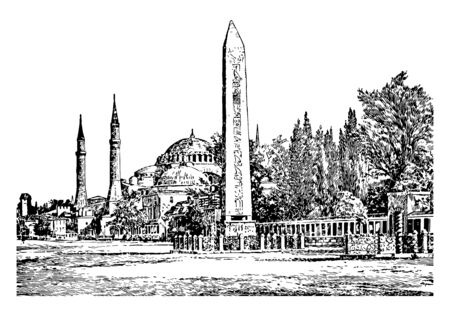 Constantinople,  the capital city of the Roman, the brief Latin,  the largest and wealthiest city in Europe, vintage line drawing or engraving illustration. Standard-Bild - 132981924
