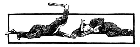 Two blindfolded players lying down on the floor ad holding each other hand. One of the players is hitting other players hand with paper, vintage line drawing or engraving illustration.