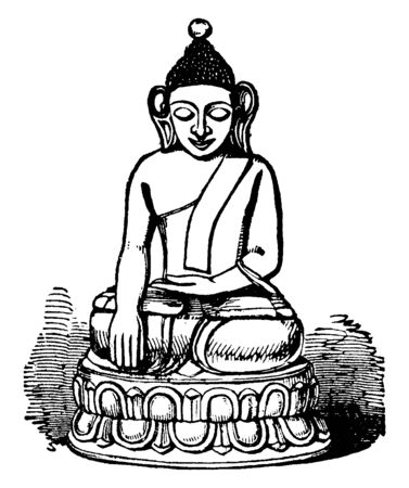 This Portrait showing statue of Lord Buddha, Gautama Buddha, also known as Siddhartha Gautama, Shakyamuni Buddha, or simply the Buddha, after the title of Buddha, was an ascetic and sage, vintage line drawing or engraving illustration. Stock Illustratie