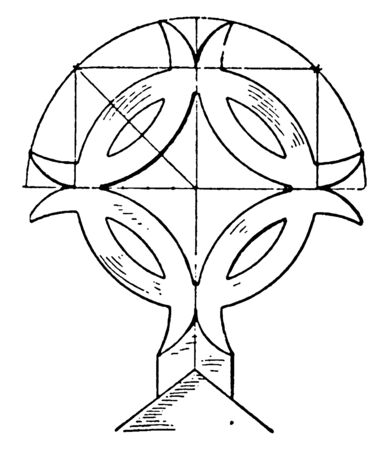 Gable of Church Cross is found in St. Urban's, Unterlimburg, christian art, church, cross, Finial, free ornaments, gables, vintage line drawing or engraving illustration. Standard-Bild - 132981968