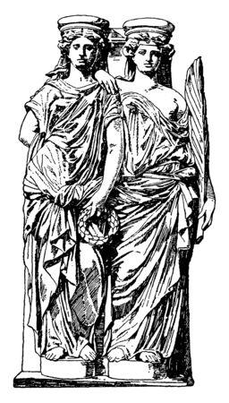 Modern Caryatid is two female figures, modern, support, Supreme, Court, Building, vintage line drawing or engraving illustration.
