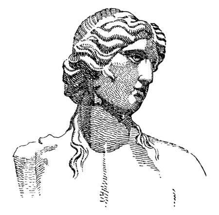 Portrait of the classical Greek and Roman deity. It is known as Apollo and is one of the most important and complex of the Olympian deity in Greek and Roman mythology, vintage line drawing or engraving illustration. 向量圖像