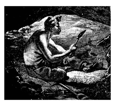 This illustration represents Miner where a man sitting in a coal mine shaft with a shovel in hand, vintage line drawing or engraving illustration.