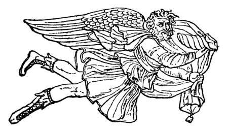 A winged god of wind named as Boreas who brings winter as per Greek mythology, vintage line drawing or engraving illustration. Vettoriali