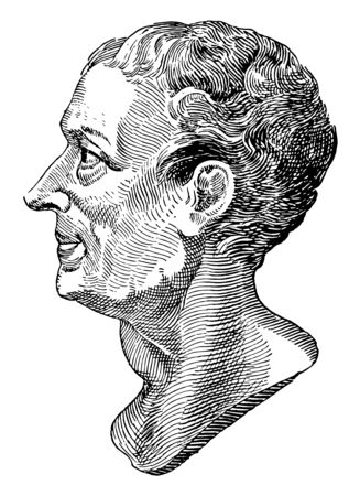 Montesquieu, 1689-1755, he was a French lawyer and political philosopher, vintage line drawing or engraving illustration