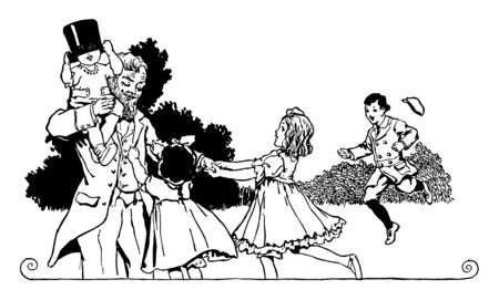 A grandfather playing with his two granddaughters and two grandsons. One young son is sitting on the grandfathers shoulder, vintage line drawing or engraving illustration.