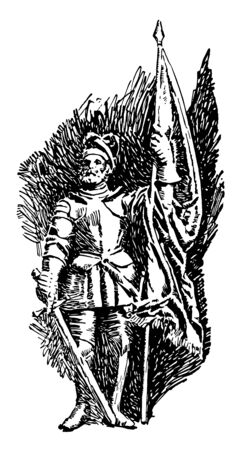 Balboa, c. 1475-1519, he was a Spanish explorer, governor, and conquistador who is most known for having crossed the Isthmus of panama to the pacific ocean in 1513, vintage line drawing or engraving illustration