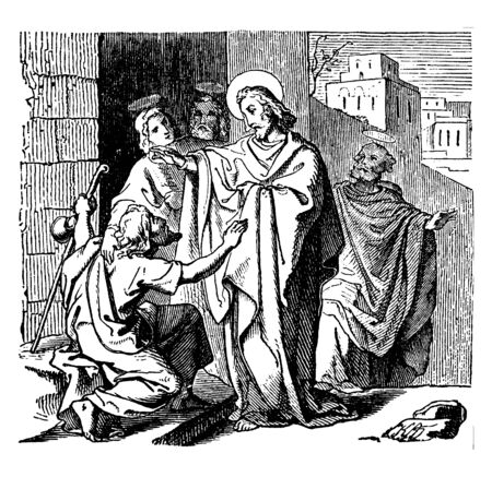A man tired of the paralysis is sitting in front of the Jesus. Jesus healing suffering by holding his hand. One lady and two men are looking on, vintage line drawing or engraving illustration.