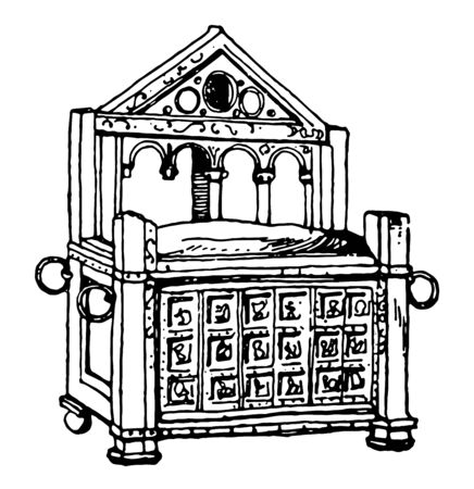 St.Peters Arm chair is made from Wood, has metal rings to carry the chair, carvings on the chair depicts story of Hercules in Rome, vintage line drawing or engraving illustration