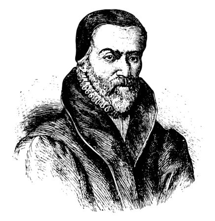 William Tyndale, 1494-1536, he was an English scholar and protestant reformer, vintage line drawing or engraving illustration