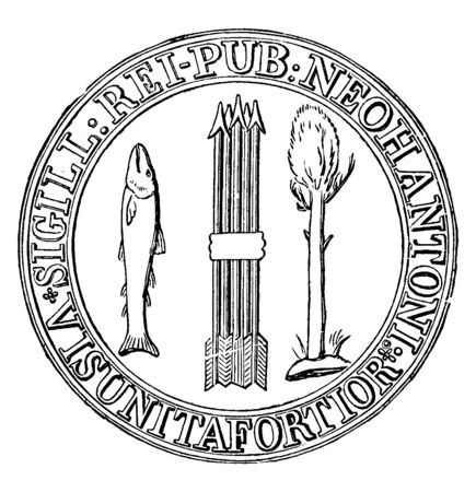 The first seal of New Hampshire, this circle shape seal has five arrows in middle, pine tree and upright fish on either side of arrows, SIGILL REI - PUB NEOHANTONI  VIS UNITA FORTIOR is written on sea