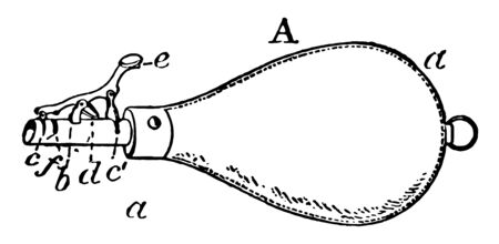 A type of pouch used to carry a hunting shot, vintage line drawing or engraving illustration.
