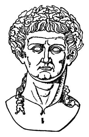 Claudius, Tiberius, 10 BC-54 AD, il était empereur romain de 41 à 54 et membre de la dynastie Julio-Claudian, dessin de ligne vintage ou illustration de gravure