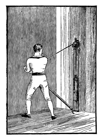 In this picture A man exercising with the sculling machine, used for the upper body. This is way of exercise, vintage line drawing or engraving illustration.