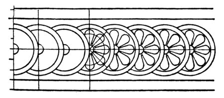Persepolis Rosette Band is a persian pattern of a flower, it is a circular flower band, vintage line drawing or engraving. Standard-Bild - 132981977