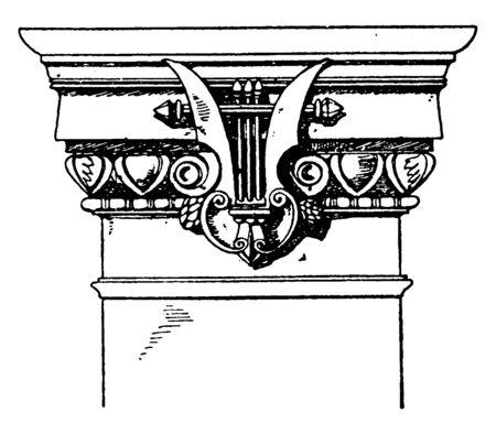 Modern Doric Pilaster Capital, columns, place, Architectural, entablature, Greece, Doric, vintage line drawing or engraving illustration.