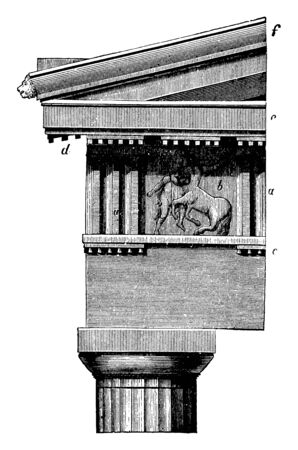 Doric Order Frieze in the Parthenon at Athens, sculpture in uninterrupted succession, occurs in groups at regular intervals, features called triglyphs, The spaces formed, vintage line drawing or engraving illustration. Ilustração