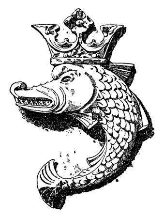 French Kings Dolphin Shield was designed in the 15th century, vintage line drawing or engraving illustration. Standard-Bild - 132982086
