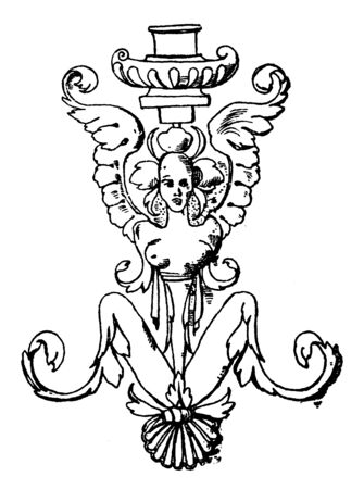 Grotesque Column is found in the Guadagni Palace in Florence, vintage line drawing or engraving illustration. Ilustrace