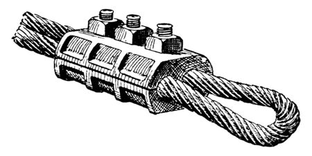 This illustration represents Wire Rope Clamp which used to hold the end of a wire rope to form a loop or ring, vintage line drawing or engraving illustration. Standard-Bild - 132982034