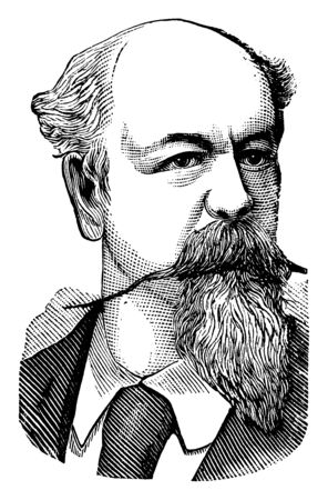 Antonio Leocadio Guzmn Blanco, 1829-1899, he was a statesman, politician, soldier, diplomat, and general during the federal war, vintage line drawing or engraving illustration
