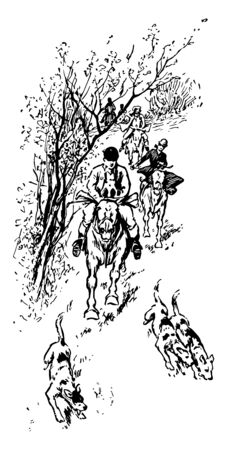 A group of hunters are hunting the foxes, vintage line drawing or engraving illustration.