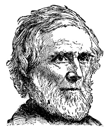 Horace Bushnell, 1802-1876, he was an American congregational minister and theologian, vintage line drawing or engraving illustration