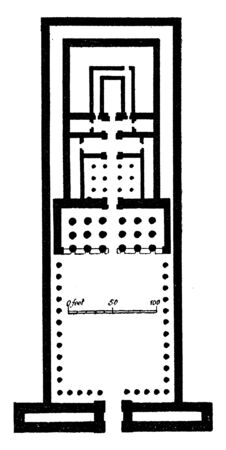 Temple of Edfu Plan, ancient Egyptian temple, Karnak and one of the best preserved, one of the best preserved shrines, upper reaches of the temple pylons, vintage line drawing or engraving illustration.