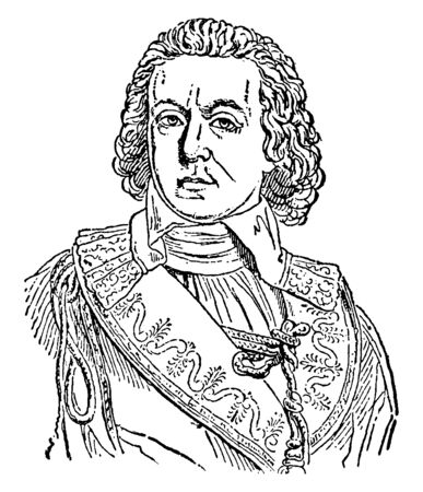 Comte de Barras, 17191793, he was French admiral of the eighteenth century, famous for his service during the American war of Independence and Yorktown campaign, vintage line drawing or engraving illu