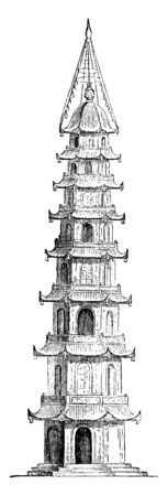 Porcelain Tower at Nankin made its entrance into China with the worship of Buddha, historical site located on the south bank, constructed in the 15th century, vintage line drawing or engraving illustr