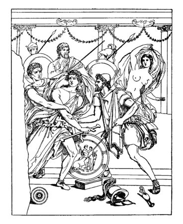Achilles, a Greek warrior, surrounded by soldiers with swords and arrows. Soldiers are pulling him to take away from his throne, vintage line drawing or engraving illustration.
