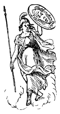 The picture shows the warrior holding the shield in left hand and spear in the right hand. The shield is believed to be designed by Hephaestus and is called as the shield of Jupiter, vintage line drawing or engraving illustration.