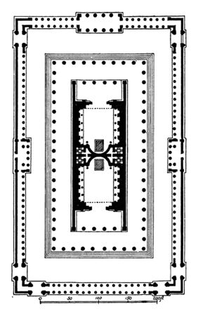 Temple of Venus and Roma, Plan, the largest known temple in Ancient Rome, the far east side of the Forum Romanum near the Colosseum, Venus the Bringer of Good Fortune, vintage line drawing or engraving illustration. Archivio Fotografico - 132981385