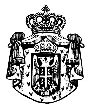 Serbian Coat of Arms is a Serbian seal, vintage line drawing or engraving illustration. Ilustracja