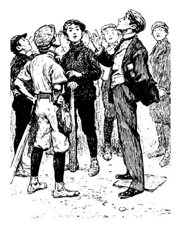 An umpire is tossing a coin before starting the game, vintage line drawing or engraving illustration.