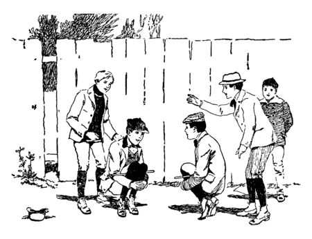 In this image there are five boys who are playing Cock-Fighting. Cock-Fighting is a game which is very popular, vintage line drawing or engraving illustration. 向量圖像