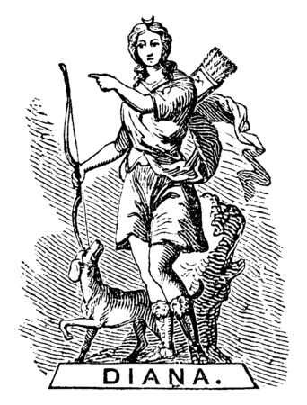 In this image there is a statue of a woman, she has a bow arrow in her hand and a sharp bag on her back and a dog with her, vintage line drawing or engraving illustration.