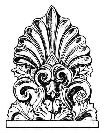 Greek Antefix is found in the propylaea, acropolis, Athens, imbrices, roof, tiles, vintage line drawing or engraving illustration.