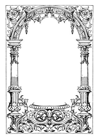 Border Typographical Frame was used as a decoration for books and documents, vintage line drawing or engraving illustration.