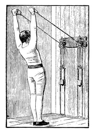 A man exercising while standing straight and pulling weights tied with machine with both arms upward. Both weights strings are parallel to each other, vintage line drawing or engraving illustration.