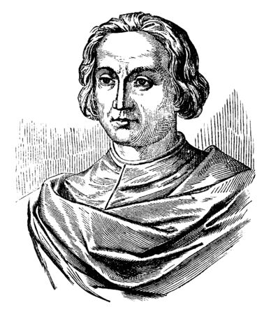 Famous explorer and trader who reached the Americas in 1492. Christopher Columbus was an explorer born in Genoa, vintage line drawing or engraving illustration.