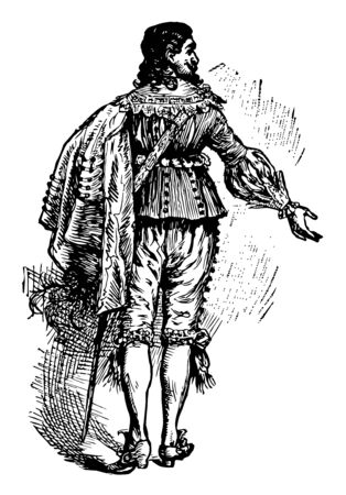 17th Century costumes are characterized by rapid change, vintage line drawing or engraving illustration. Standard-Bild - 132982138