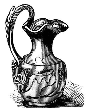 Roman Vase was produced in enormous quantities in ancient Rome, its mostly for utilitarian purposes, vintage line drawing or engraving illustration. Standard-Bild - 132982159