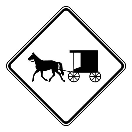 Color of Horse Drawn Vehicles signs may be used to alert road users to locations where unexpected entries into the roadway by trucks, vintage line drawing or engraving illustration. Ilustração