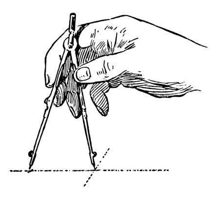 Adjusting the Compass from a small to large radius, vintage line drawing or engraving illustration. Ilustrace