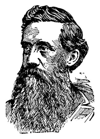 Elliott Coues, 1842-1899, he was an American army surgeon, historian, ornithologist and author, vintage line drawing or engraving illustration