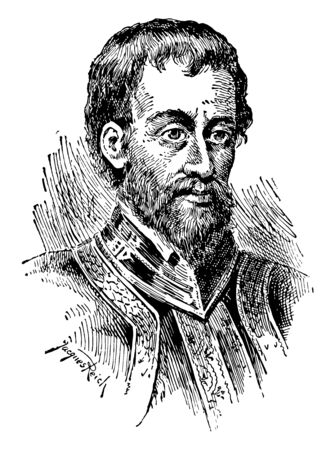 Hernando de Soto, 1495-1542, he was a Spanish explorer and conquistador, vintage line drawing or engraving illustration