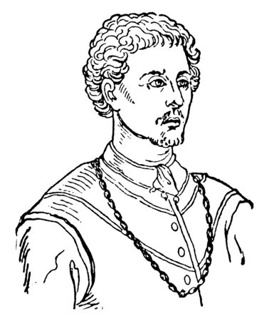 Pietro Aretino, 1492-1556, he was Italian author, poet, and playwright, he was a famous satirist, vintage line drawing or engraving illustration