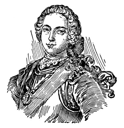 Charles Edward Stuart, 1720-1788, he was the second Jacobite pretender to the thrones of England, Scotland, France and Ireland, vintage line drawing or engraving illustration